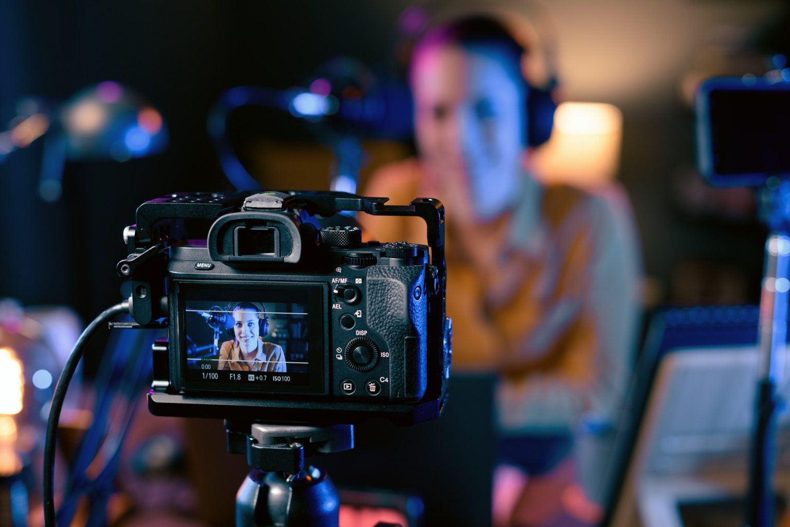 Youtuber recording her video in the studio
