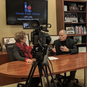 Photo of Superintendent Spotlight being recorded