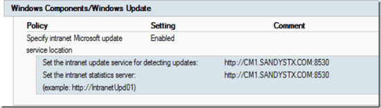 Group Policy Resut - Specify Intranet Microsoft Update Service Location