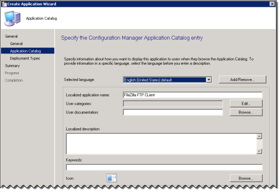 Application Catalog Page in the Create Application Wizard