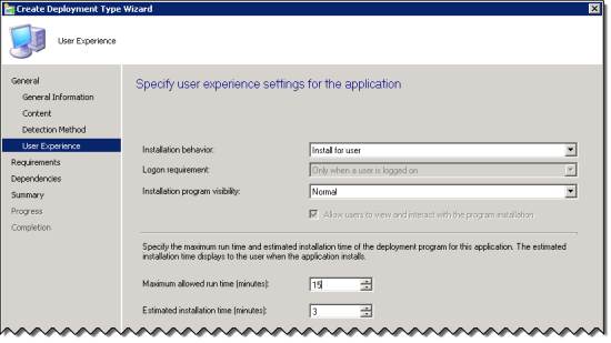 User Experience Page of the Create Deployment Type Wizard