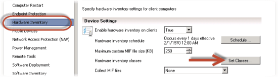 Hardware Inventory Set Classes
