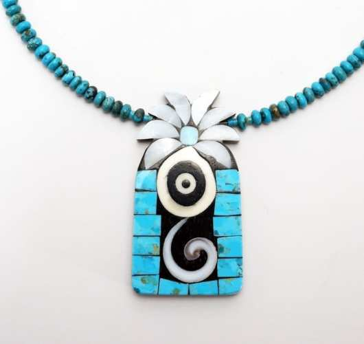 Mary Tafoya Turquoise Flower Necklace
