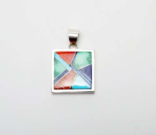 Earl Plummer multi-material inlaid reversible pendant