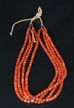 Harvey Abeyta Four Strand Sponge Coral-Pen Shell Necklace