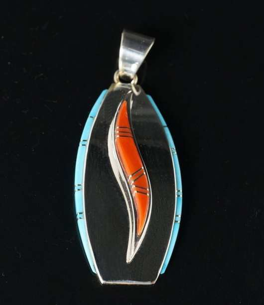Earl Plummer inlaid two-level pendant
