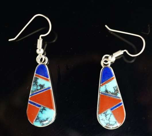 Earl Plummer Inlaid Multi-material Teardrop Earrings