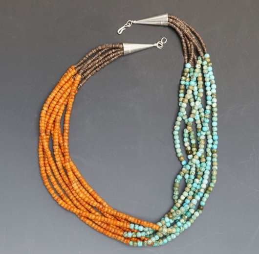 Deanna Tenorio Seven Strand Turquoise-Apple Coral Necklace