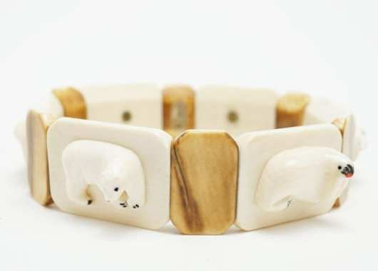 Vintage Ivory Bracelet - Separately Carved Animals