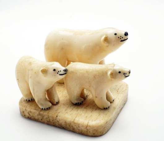 Vintage ivory bear family