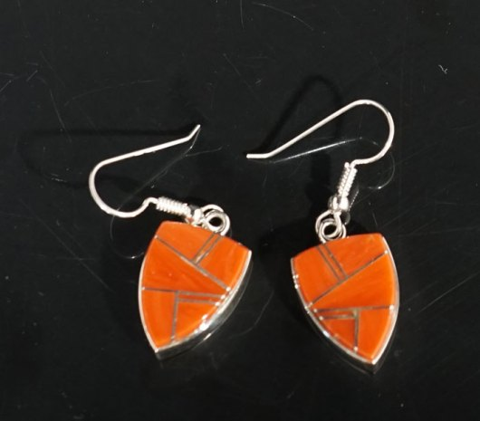 Earl Plummer Sterling Silver Mediterranean Coral Earrings