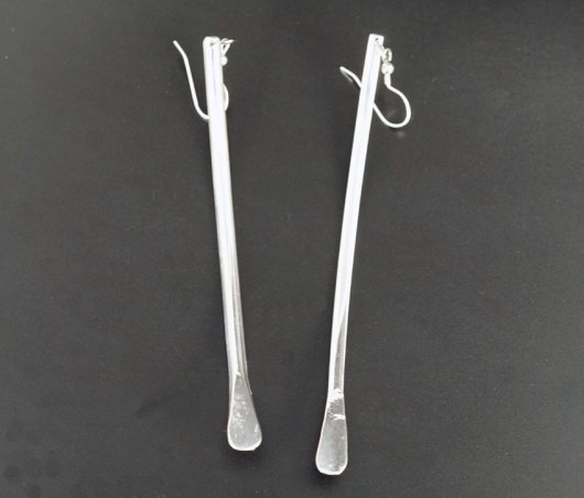 David Gaussoin Long Sterling Silver Dangle Earrings