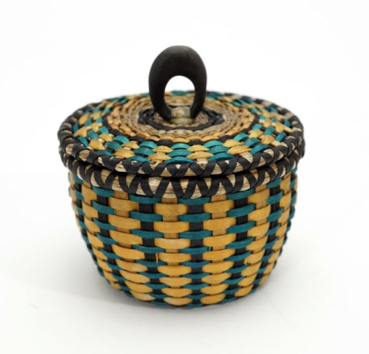 Sarah Sockbeson Teal Gold Mini Urchin Basket