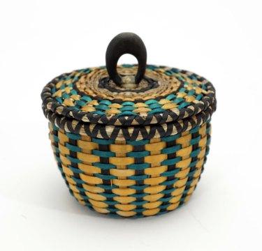 Sarah Sockbeson Teal Gold Mini Urchin Basket