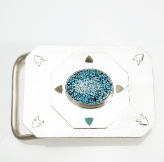 Amelia Joe-Chandler Kingman Turquoise Hogan Belt Buckle