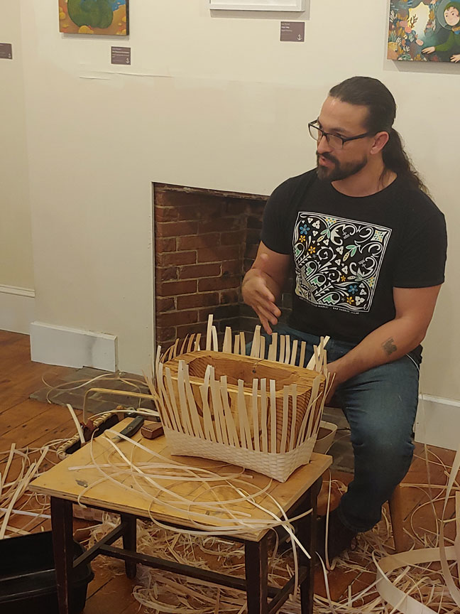Gabriel Frey demonstrating at the Brick Store Museum
