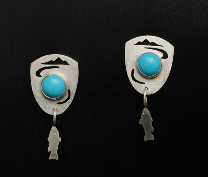 Amelia Joe-Chandler Sleeping Beauty Turquoise Fish Earrings