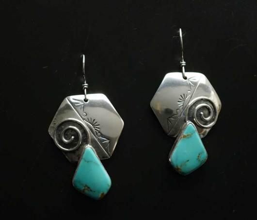 Cheryl Arviso Journey of Life Earrings with Kingman Turquoise