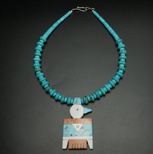 Mary Tafoya Thunderbird necklace with turquoise beads