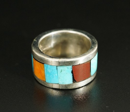 Lorenzo Tafoya Native American Jewelry Sterling Silver Mosaic Ring