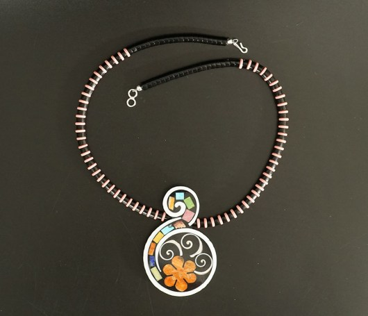 Mary Tafoya Native American Jewelry Santo Domingo Mosaic Flower Swirl Necklace