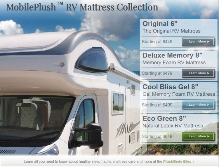 "PlushBeds 8"" Cool Bliss Gel RV Mattress Reviews & Sale"