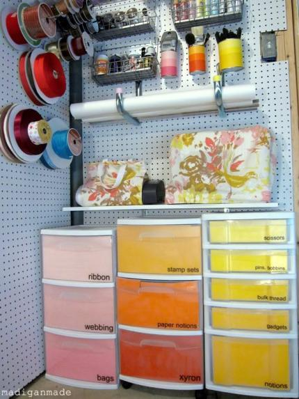 Colorful Ombre Basement Craft Storage