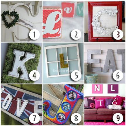 9 Letter & Monogram Craft Ideas