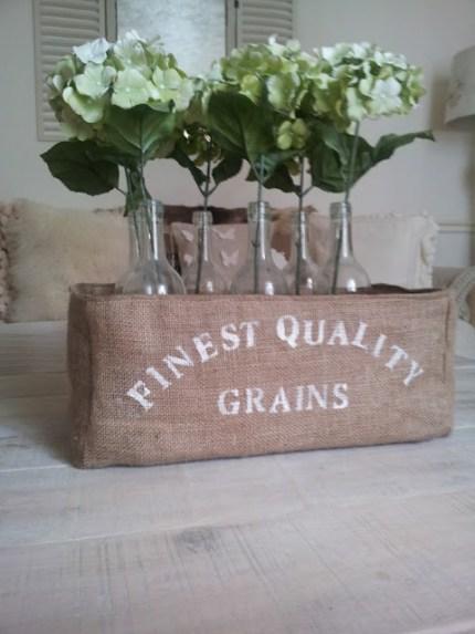 Faux Grain Sack Storage Box