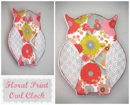 Floral Print Owl Clock