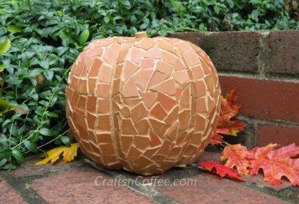 Terra Cotta Mosaic Pumpkin