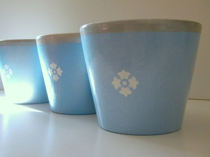 French Herb Painted Pots