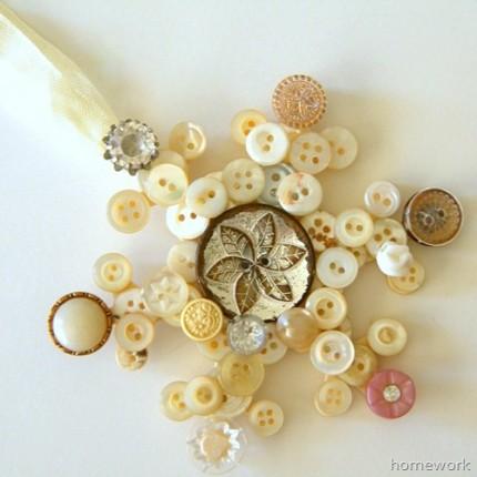 Vintage Button Snowflake