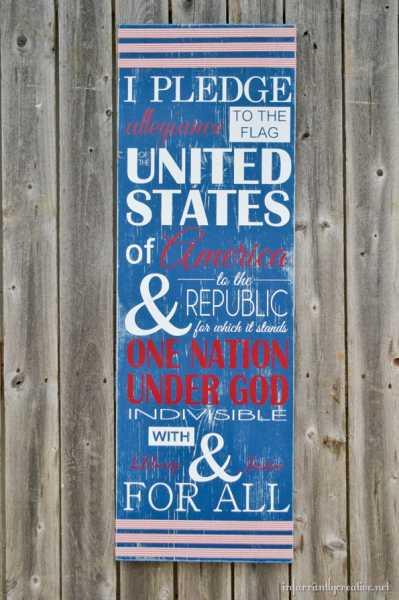 I Pledge Allegiance Patriotic Sign