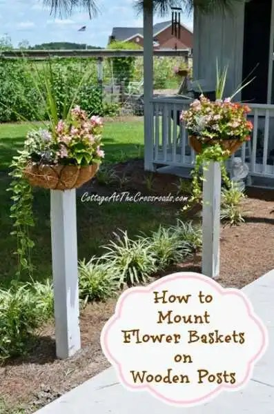 How-to-Mount-Flower-Baskets-on-Wooden-Posts
