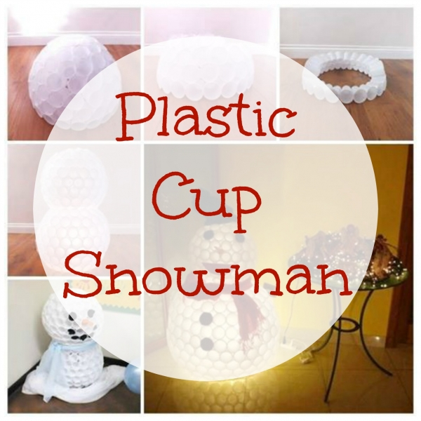 Snowman made from plastic cups home and garden for Snowman made out of cups