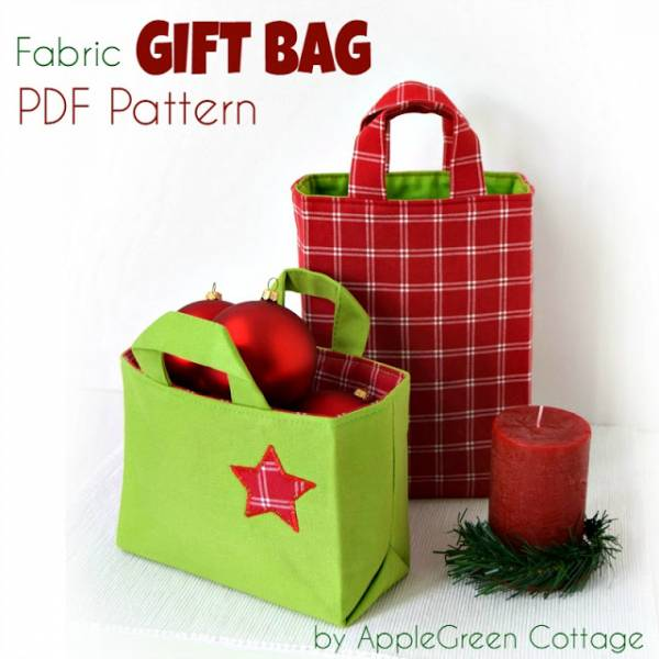 Easy Fabric Gift Bag Sewing Pattern