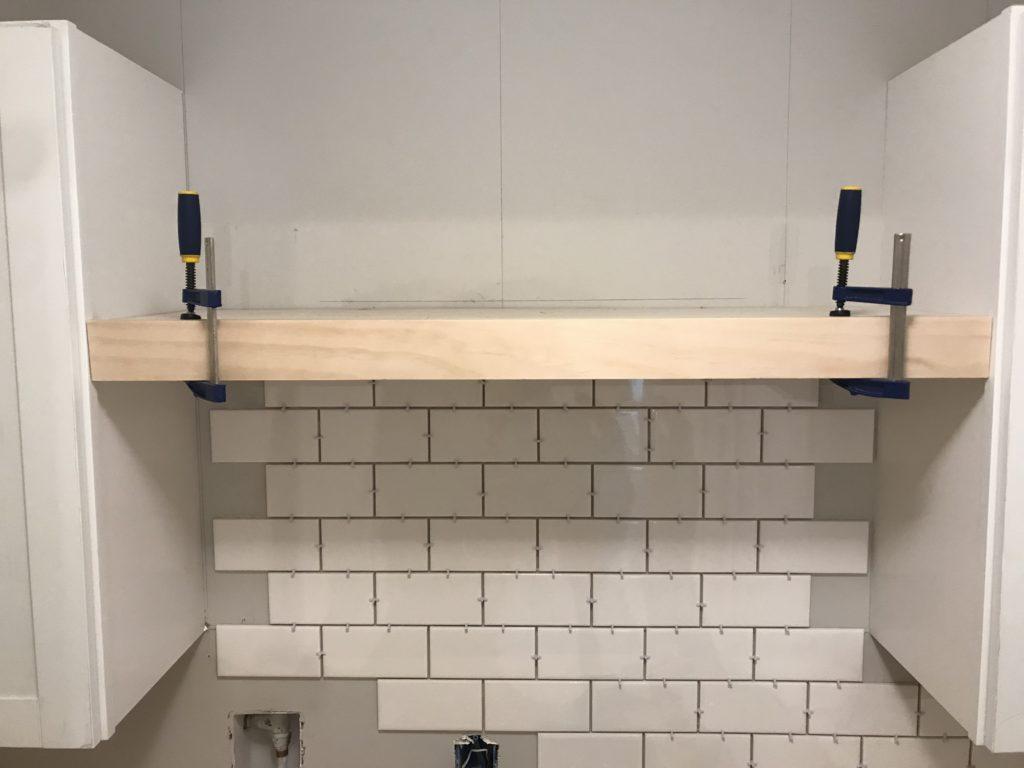 diy floating shelf subway tile