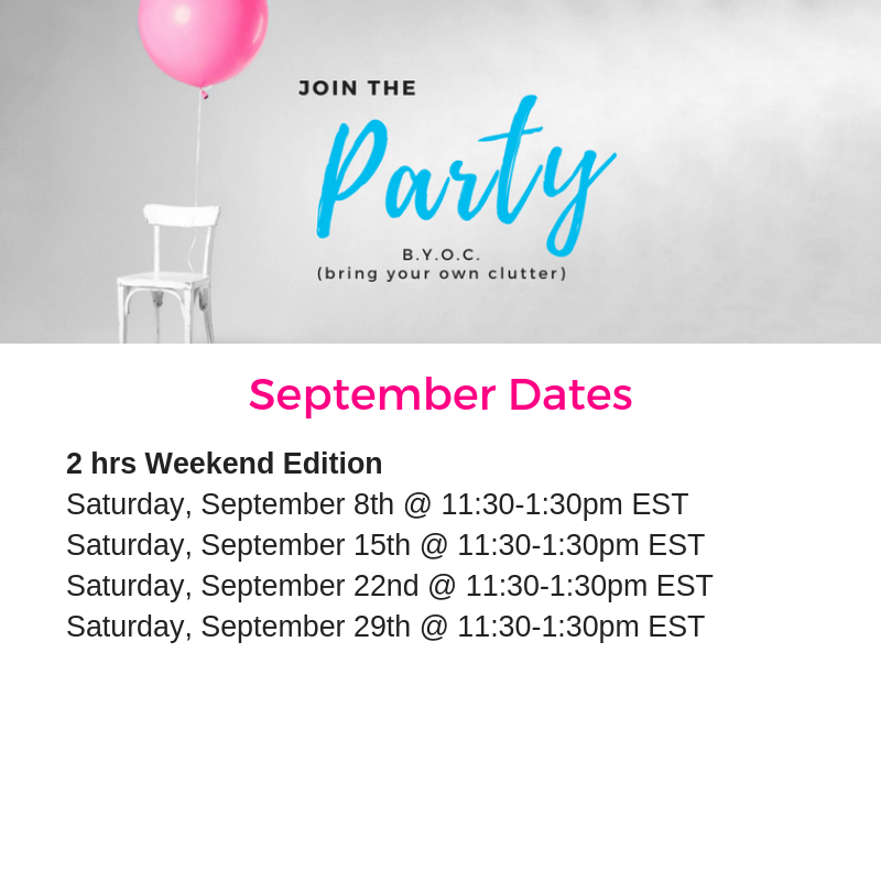 BYOC membership, declutter, bring your own clutter, decluttering, decluttered, clutter, BYOC Party, declutter coach, clear the clutter