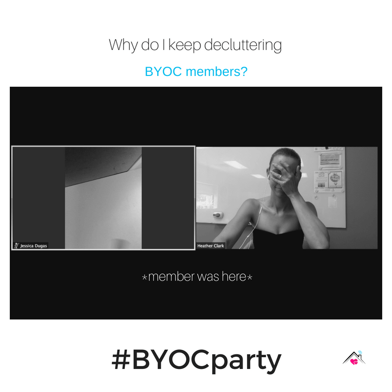 BYOC party, BYOC, Bring your own clutter, declutter, declutter party, decluttering, declutter coach, party