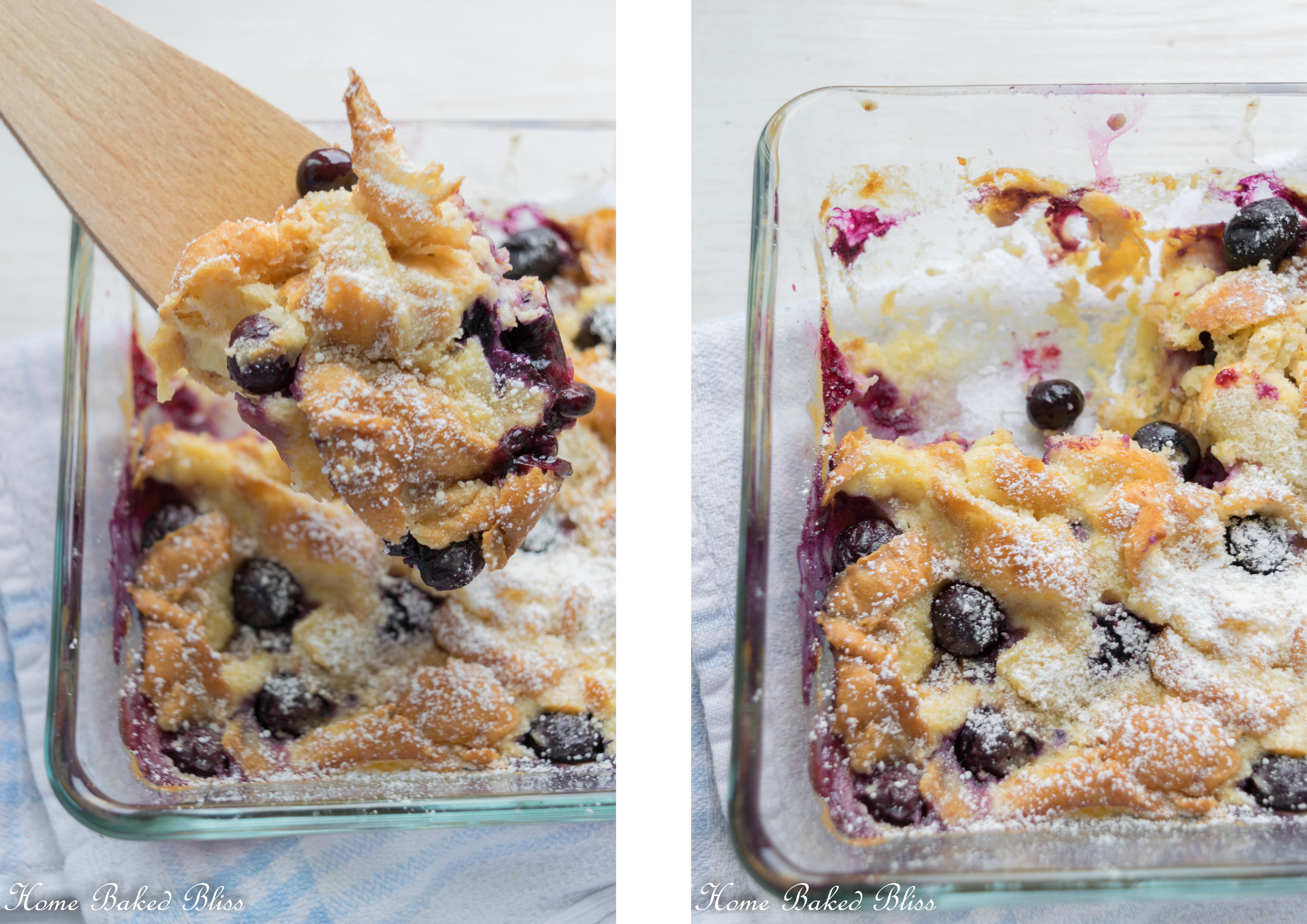 Blueberry lemon breakfast casserole in a glass pan.