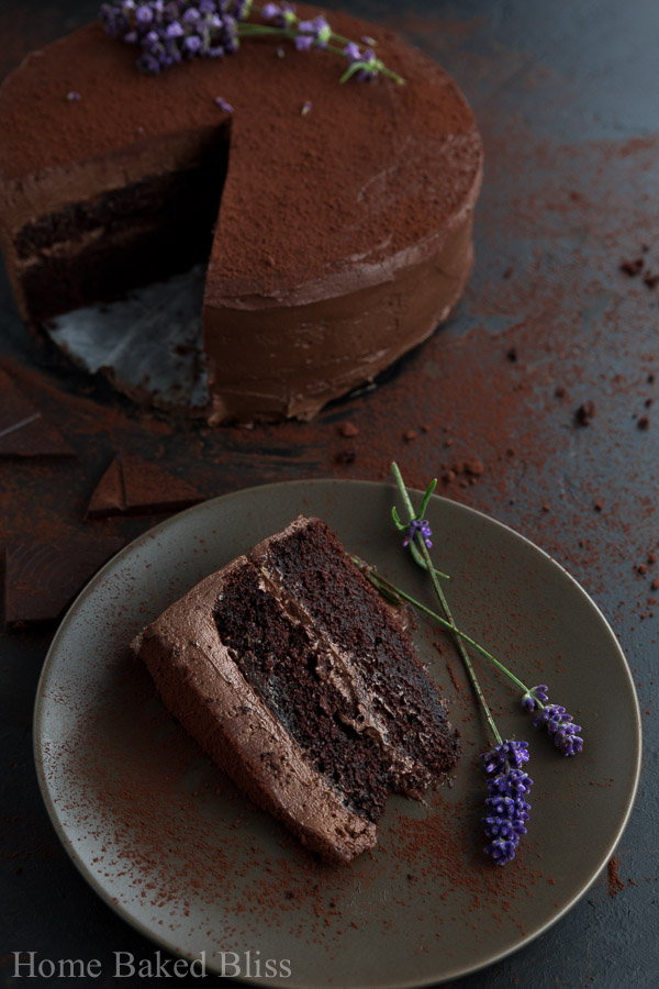 A big fat slice of the decadent chocolate cake with chocolate frosting.
