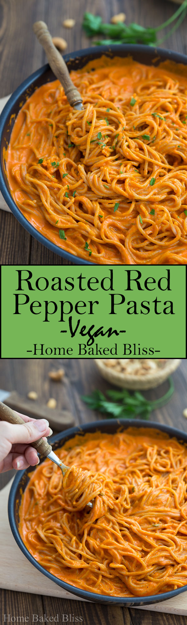 This roasted red bell pepper pasta is a quick and healthy vegan dinner you can make in a little over 30 minutes. #vegan #pasta #dinner #healthy | homebakedbliss.com