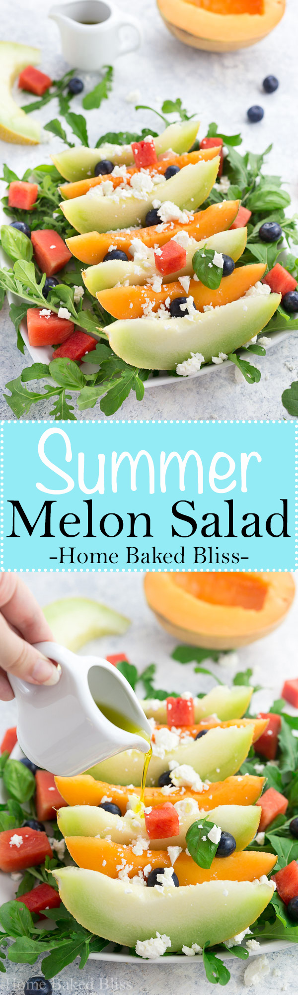 A light and refreshing summer melon salad composed of cantaloupe, honeydew and watermelon. Topped off with feta cheese and olive oil this salad makes a wonderful salty and sweet side dish for bbqs, parties and get-togethers. #summerrecipe #melonsalad #summersalad #melon | homebakedbliss.com