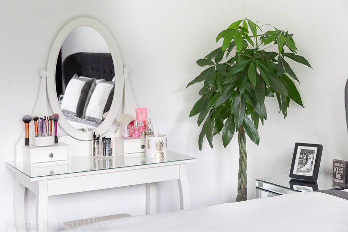 White vanity area next to a large plant.