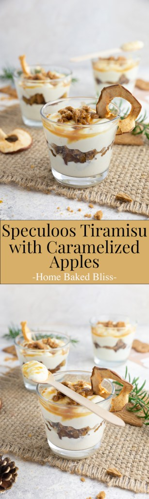 Speculoos tiramisu with cinnamon apples and caramel sauce in glasses.