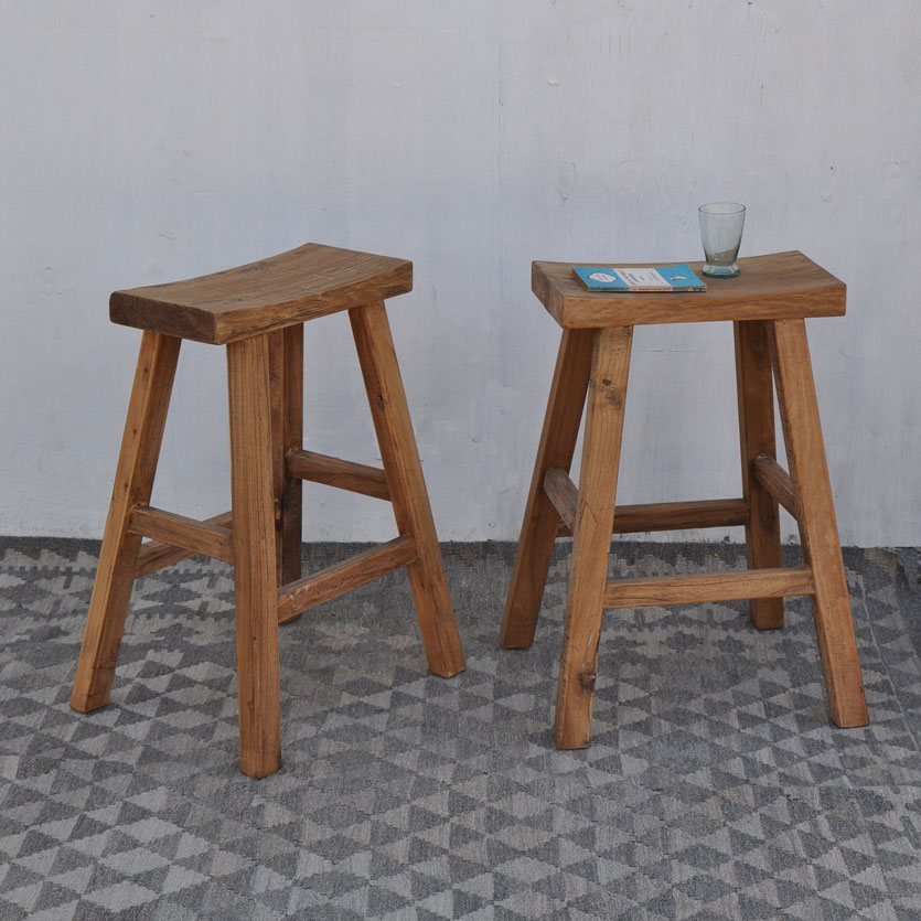 Rustic Reclaimed Wood Bar Stool Home Barn Vintage Seating