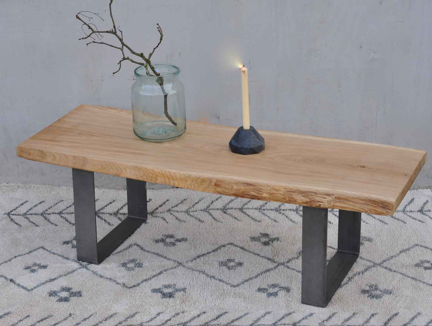 live edge solid oak coffee table with