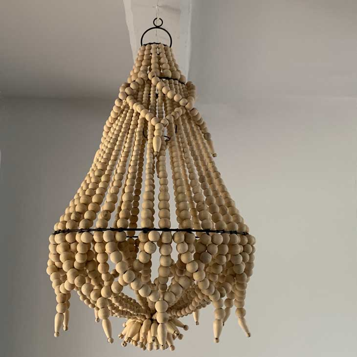 Wooden Bead Chandelier Light Home Barn Vintage
