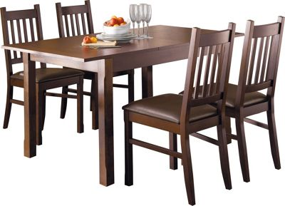 Hygena Cucina Extending Dining Table And 4 Chairs Walnut